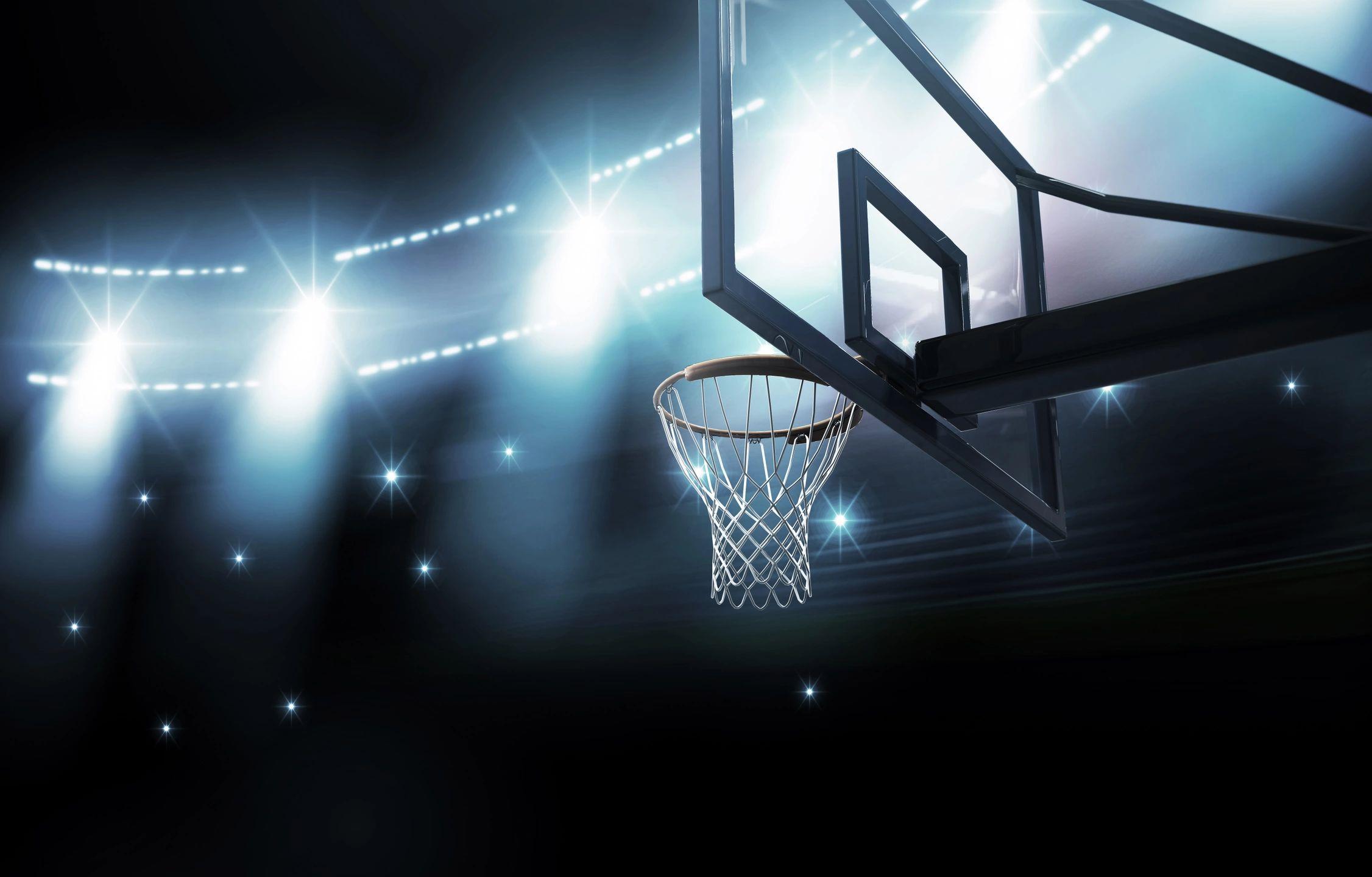 basketball hoop and lights